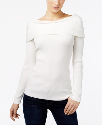 INC International Concepts Ribbed Off-The-Shoulder Top, Only at Macy's $59.50 thestylecure.com