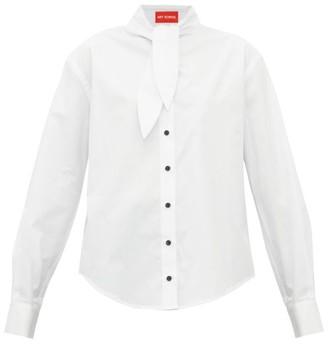 Hunter Art School Necktie Cotton Poplin Shirt - Womens - White
