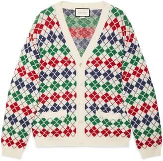 Gucci Argyle alpaca wool cardigan