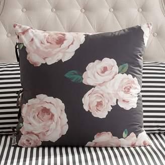 Pottery Barn Teen The Emily & Meritt Bed Of Roses Euro Sham, Black/Pink