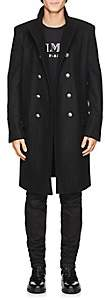 Balmain Men's Wool-Cashmere Double-Breasted Military Coat - Black