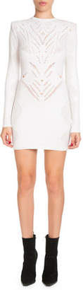 Balmain High-Neck Long-Sleeve Knit Lace Short Dress