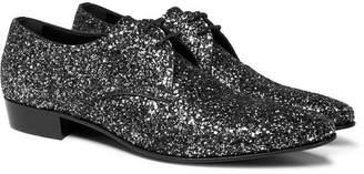 Saint Laurent Hopper Glittered Leather Derby Shoes