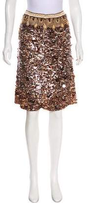 Oscar de la Renta Silk Sequined Skirt