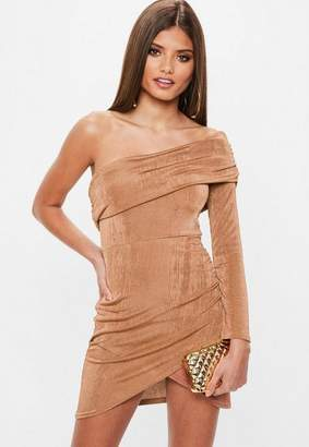 Missguided Brown Slinky One Shoulder Overlay Dress, Brown