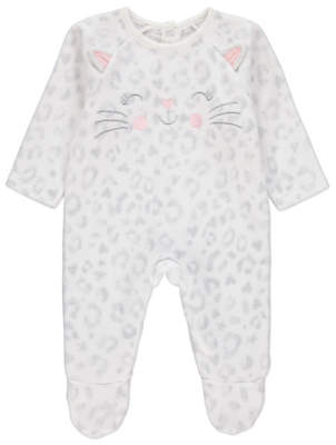 CAT White Embroidered Fleece Sleepsuit