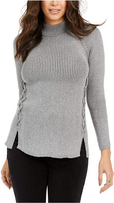 Style&Co. Style & Co Mock Neck Lace-Up Ribbed Knit Top