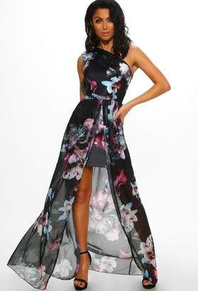 a88be9badf185 Pink Boutique Kiss From A Rose Multi Floral Print One Shoulder Maxi Dress