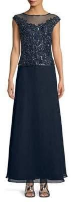 J Kara Sequined Sleeveless Floor-Length Dress