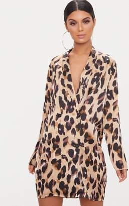 PrettyLittleThing Leopard Oversized Loose Fit Blazer Dress