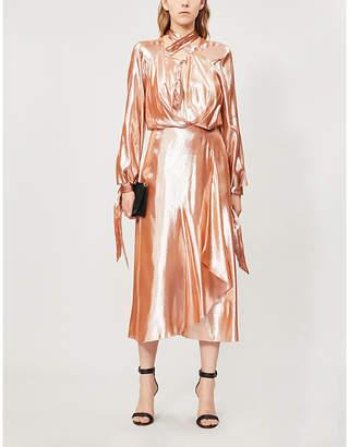 Roland Mouret Carilo metallic silk-blend midi dress
