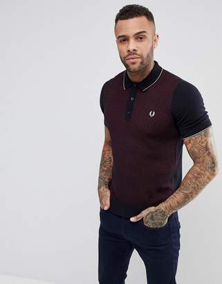Fred Perry textured knitted polo shirt in navy