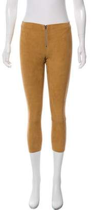 Alice + Olivia Suede Mid-Rise Pants