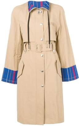 Kenzo tartan pattern trench coat