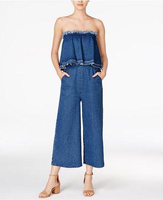 J.o.a. Cotton Strapless Denim Jumpsuit $105 thestylecure.com