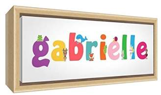 Camilla And Marc Little Helper Canvas with Colour Example Solid Wood Frame with Girl's Name Gabrielle 19 x 18 x 3 cm Small