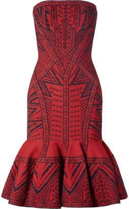 Herve Leger Fluted Metallic Stretch Jacquard-knit Midi Dress - Red