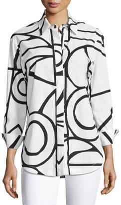 Finley Plus Size Graphic-Print Blouse, White/Black