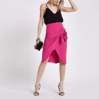 River Island Womens Petite pink tie front pencil skirt