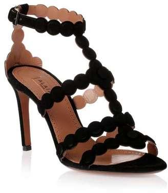 Alaïa Black suede flower heeled sandal $1,250 thestylecure.com