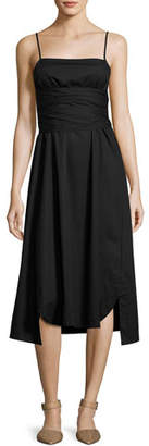 Elizabeth and James Oak Waist-Tie Poplin Midi Dress, Black