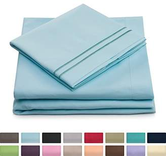 +Hotel by K-bros&Co Queen Size Bed Sheets - Baby Blue Luxury Sheet Set - Deep Pocket - Super Soft Hotel Bedding - Cool & Wrinkle Free - 1 Fitted
