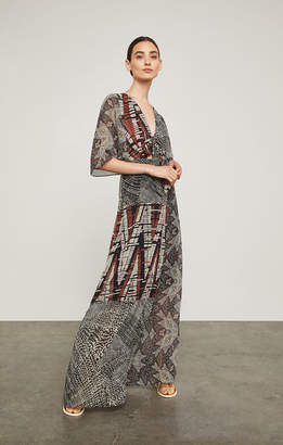 BCBGMAXAZRIA Patchwork Maxi Wrap Dress