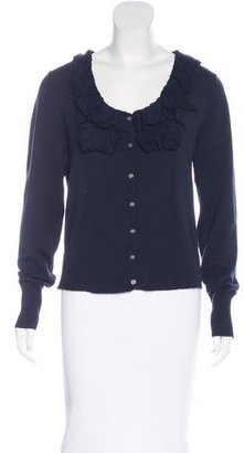 Minnie Rose Ruffle-Trimmed Button-Up Cardigan $85 thestylecure.com