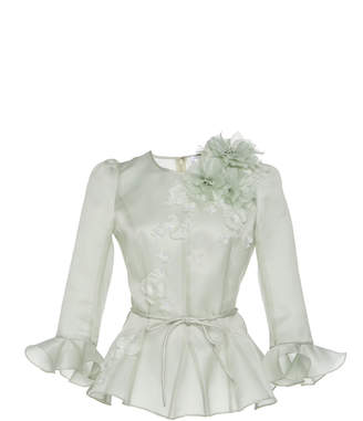 Andrew Gn Floral Embellished Silk Organza Peplum Top