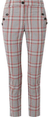 Veronica Beard Farrow Checked Cotton-blend Slim-leg Pants - Navy
