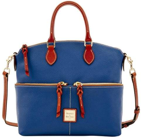Dooney & Bourke Pebble Grain Double Pocket Satchel - OCEAN - STYLE
