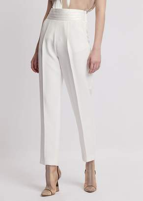 Emporio Armani Cadi Trousers With Darts And Pleated Band In Satin