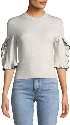 See by Chloe Ruffle-Sleeve Cropped Crewneck Sweater