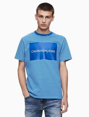 Calvin Klein striped institutional logo crewneck t-shirt
