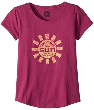 Life is Good Here Comes The Sun Smiling Smooth Tee Girl's T Shirt