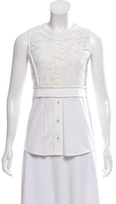 Veronica Beard Sleeveless Lace-Accented Top