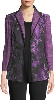Misook Plus Size Mixed Media 3/4-Sleeve Jacquard Jacket