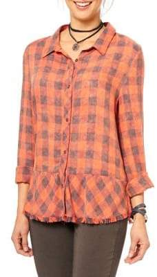 Democracy Plaid Button Front Shirt