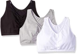 Fruit of the Loom Women's Shirred Front Racerback Bra (Pack of 3)
