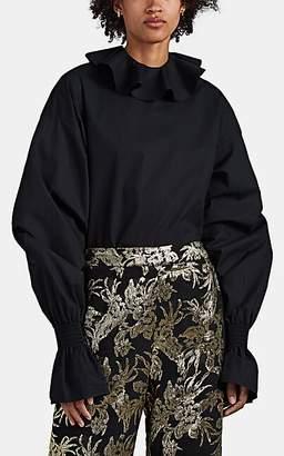 Françoise Women's Cotton Ruffle-Collar Blouse - Black