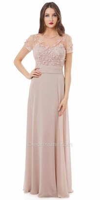 JS Collections Floral Embellished Mesh and Chiffon Evening Dress $385 thestylecure.com