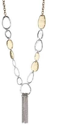 Lucky Brand Organic Two-Tone Fringe Pendant Necklace