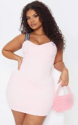 PrettyLittleThing Plus Baby Pink Strappy Cup Detail Bodycon Dress