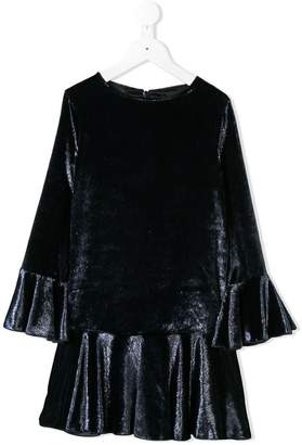 Dondup Kids crushed velvet frilled dress