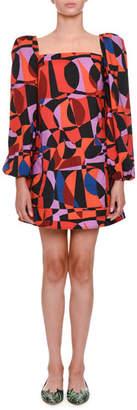 Tomas Maier Geometric-Pattern Babydoll Dress