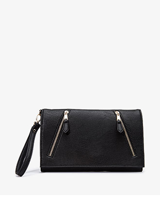 Forever 21 Faux Leather Zip Clutch w/ Optional Wristlet Strap