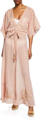 Flora Bella Montego Belted Maxi Coverup Caftan with Embroidery