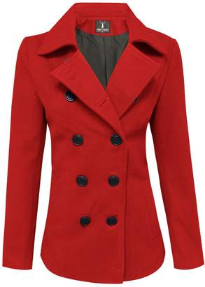 Toms Tom's Ware Womens Trendy Double Breasted Wool Pea Coat TWCWC06-XL-CA