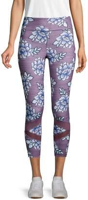 Gaiam Floral-Print Mesh Leggings
