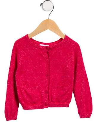 C de C Girls' Metallic Button-Up Cardigan